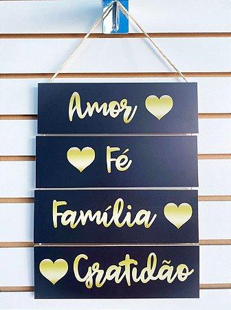 Quadro Corda - Amor, Fé, Família, Gratidão