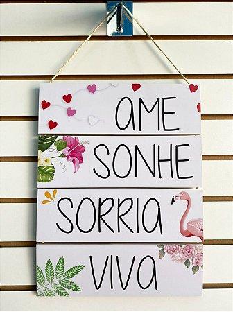 Quadro Corda - Ame, Sonhe, Sorria, Viva