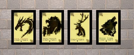 Kit 04 Quadros - Casas Game Of Thrones