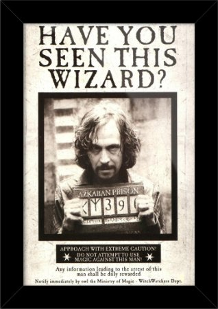 Poster com Moldura - Wanted Sirius Black Harry Potter