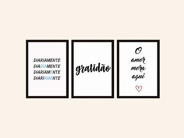 Kit 03 Quadros Decorativos - Amor E Gratidão