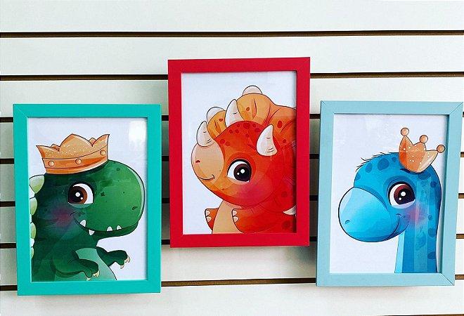 Kit 03 Quadros Decorativos - Baby Dinossauros Decoração Infantil