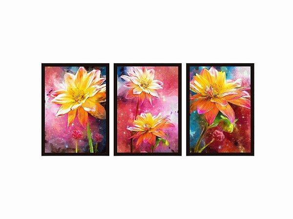 Kit 03 Quadros Decorativos - Flores Coloridas