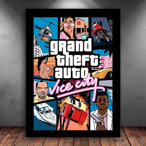 Poster com Moldura - GTA Vice City