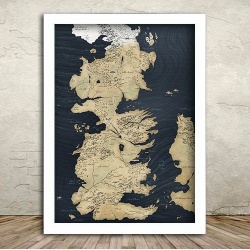 Poster com Moldura - Mapa de Westeros