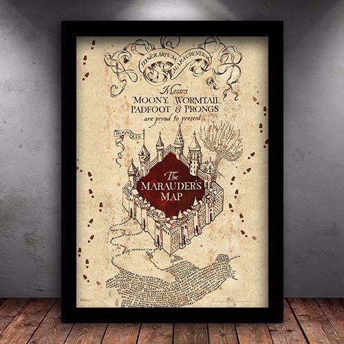 Poster com Moldura - Mapa do Maroto Harry Potter