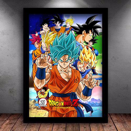 Poster com Moldura -  Goku Forms Dragon Ball Super