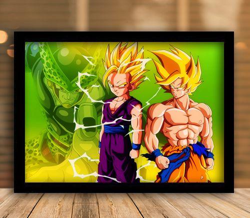 Poster com Moldura - Goku e Gohan x Perfect Cell