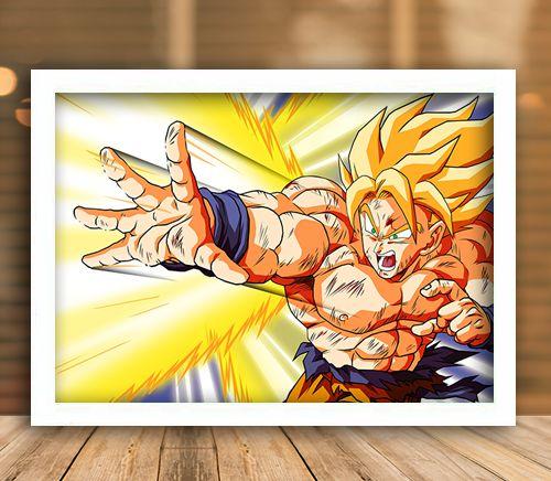 Poster com Moldura - Goku Super Sayajin Attack