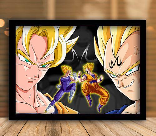 Poster com Moldura - Goku Vs Majin Vegeta