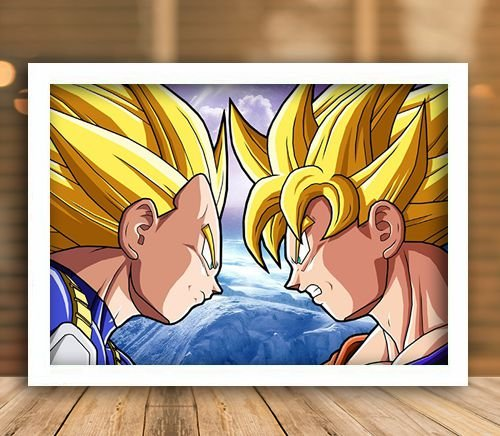 Poster com Moldura - Goku Vs Vegeta SSJ