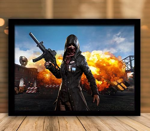 Poster com Moldura - Playerunknown's Battlegrounds PUGB   Mo.07