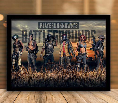 Poster com Moldura - Playerunknown's Battlegrounds PUGB   Mo.12