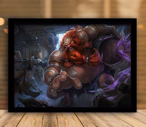 Poster com Moldura - League of Legends LoL Gragas