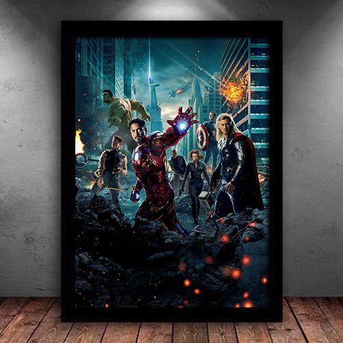 Poster com Moldura - Vingadores
