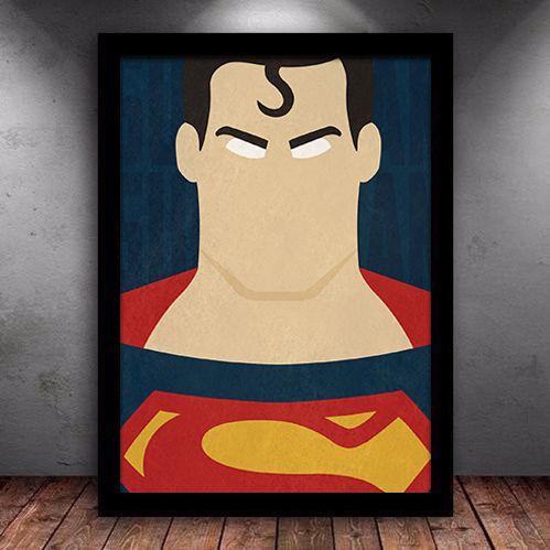 Poster com Moldura - Superman Minimalista