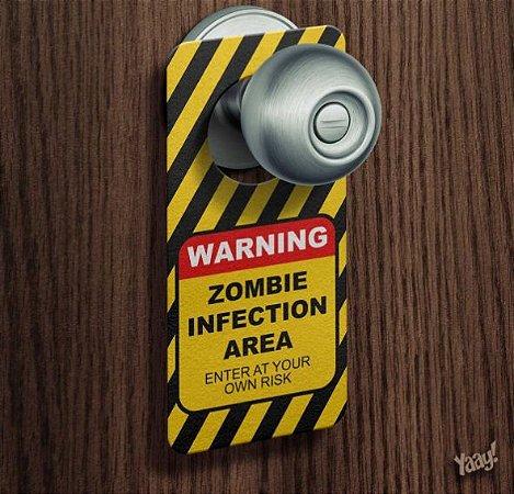 Aviso de Porta Perigo Risco De Infecção Zumbi