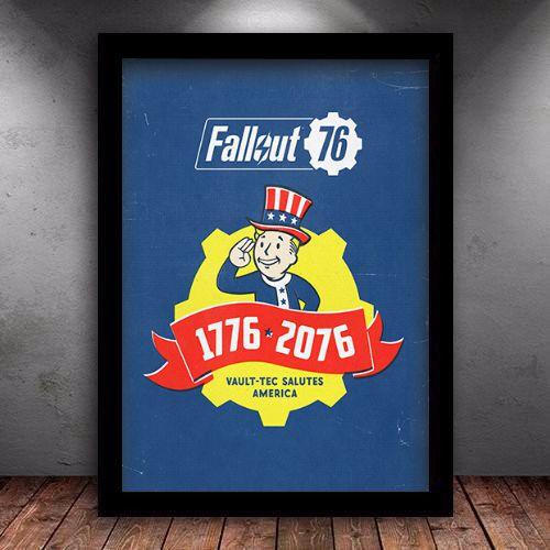Poster com Moldura - Fallout 1776 - 2076