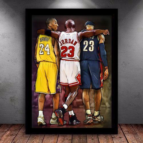 Poster com Moldura - Nba Legends Kobe Lebron Jordan