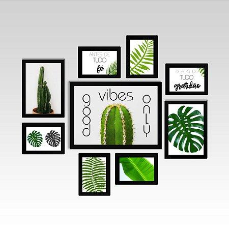 Conjunto - Quadros Decorativos Para Sala Good Vibes Only 9 Pçs