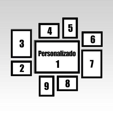 Conjunto - 09 Quadros Decorativos Personalizados