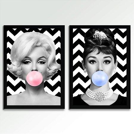 Conjunto - 02 Quadros Marilyn & Audrey Bubble Gum Retrô