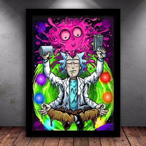 Poster com Moldura - Rick And Morty Psicodelico