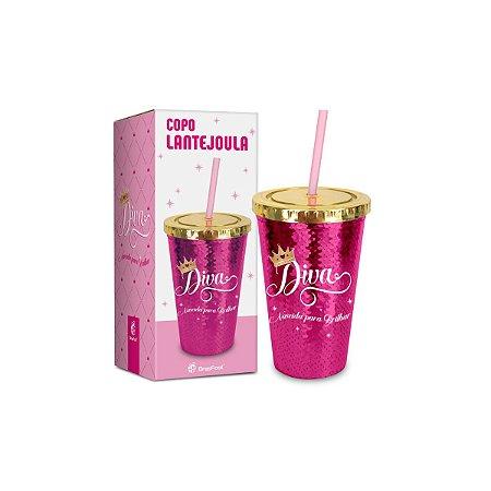 Copo Com Canudo - Lantejoula Diva