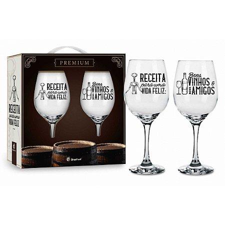 Kit Taças de Vinho - Receita Para Uma Vida Feliz