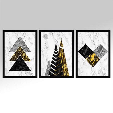 Kit 03 Quadros Decorativos - Marmore Yellow