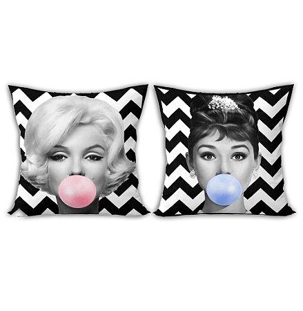 Conjunto Almofadas - Audrey Hepburn e Marylin Monroe Bubble Gum