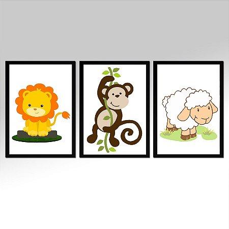 Kit 03 Quadros Decorativos Infantil - Animais