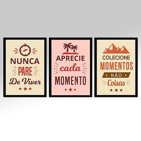 Kit 03 Quadros Decorativos Frases Motivacionais