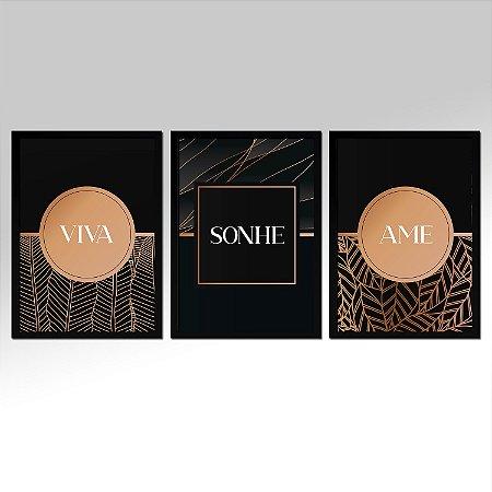 Kit 03 Quadros Decorativos - Viva Sonhe Ame Mo.2