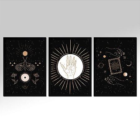 Kit 03 Quadros Decorativos - Místico Astrologia