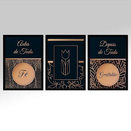 Kit 03 Quadros Decorativos - Fé E Gratidão