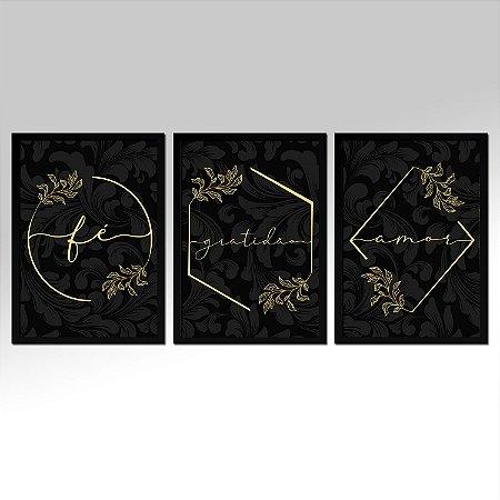 Kit 03 Quadros Preto E Dourado - Fé Gratidão Amor