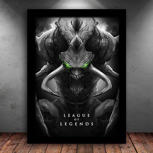 Poster com Moldura - Cho'Gath League Of Legends