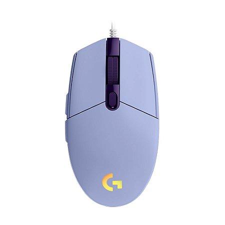 Mouse Gamer Logitech G203 8000dpi RGB Lilás com fio
