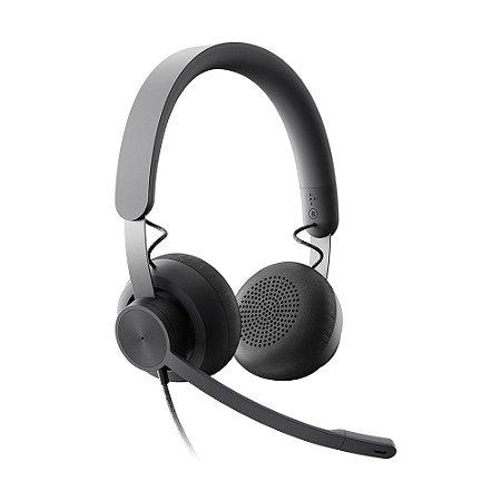 Headset Logitech Zone Wired 981-000876 com fio - PC