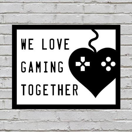 Placa De Parede Decorativa: We Love Gaming Together - Shopb