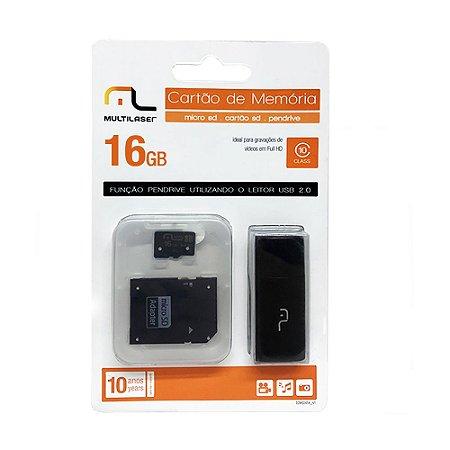 Cartão de Memória MicroSD 16Gb 3 em 1 - Multilaser