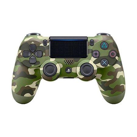 Controle Sony Dualshock 4 Verde Camuflado sem fio (Com led frontal) - PS4
