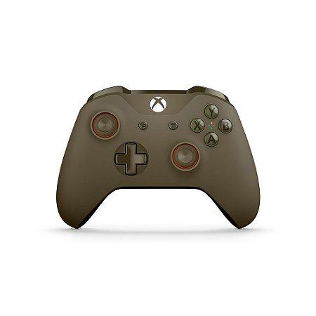 Controle Microsoft Verde Militar (Verde e Laranja) - Xbox One S