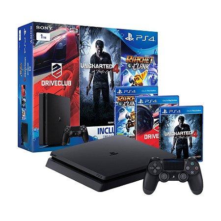 Console PlayStation 4 Slim 1TB + 3 Jogos Exclusivos - Sony