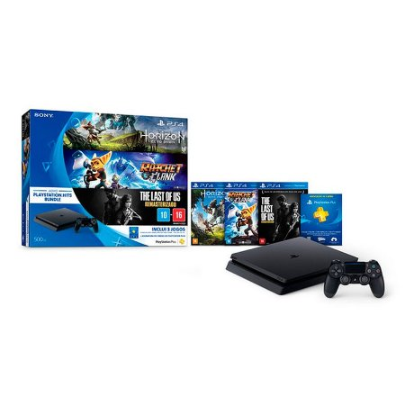 Console PlayStation 4 Slim 500GB + 3 Jogos Exclusivos + 3 Meses Plus - Sony