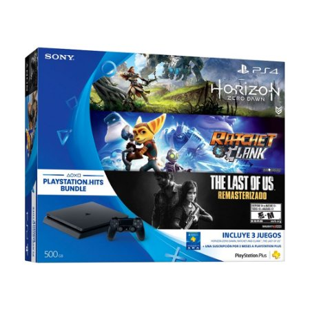 Console PlayStation 4 Slim 500GB + 3 Jogos Exclusivos + 3 Meses Plus - Sony (Americano)