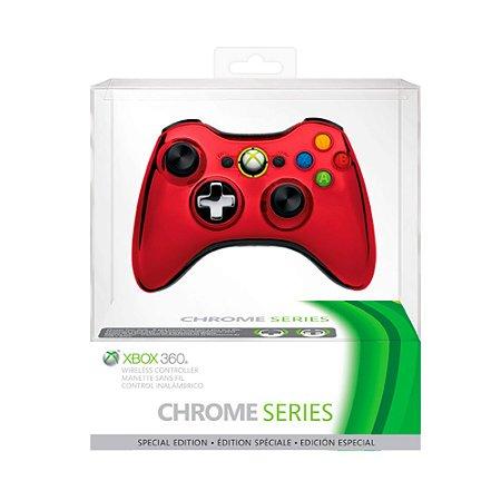 Controle Microsoft Edição Especial Cromado Vermelho sem fio - Xbox 360