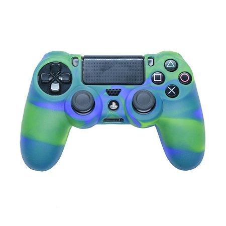 Capa de Silicone Camuflagem Verde/Azul para Controle Dualshock 4 - PS4