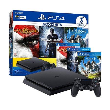 Console PlayStation 4 Slim 500GB + 3 Jogos + 3 Meses Plus - Sony